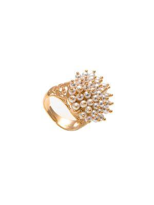 Stylish ring  with white swarovski pearls