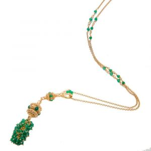 Stylish Necklace with green agate